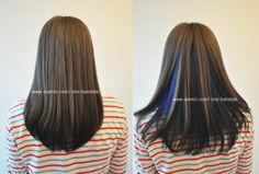 neon blue peek a boo under hair dye