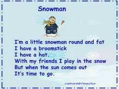 ... Winter: Poetry & Songs on Pinterest   Snowman, Poem and Five little