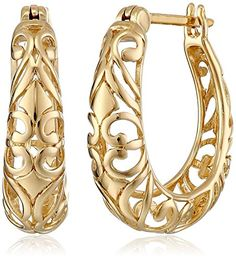 382696cef 18k Yellow Gold Plated Sterling Silver Textured Hoop Earrings Filigree  Earrings, Silver Hoop Earrings,