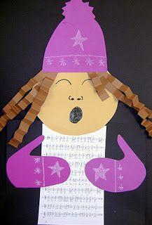 Christmas caroler. Cute bulletin board idea.