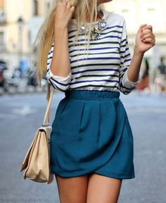 blue stripe shirts with blue skirt and statement necklace