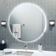 """Mirror Round 28"""" LED  Waterproof 3000K dimmable warm white LED soft strip lighting encircles back body of mirror creating an elegant floating effect.  Stonelighting.net"""
