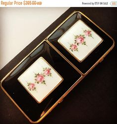 Very classic Guilloche Enameled 1930s 1940s Antique Art Deco double compact white pink floral black enamel high end collectible compact