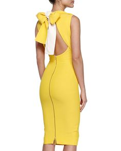 Victoria Beckham Double-Faced Bow-Back Sheath Dress