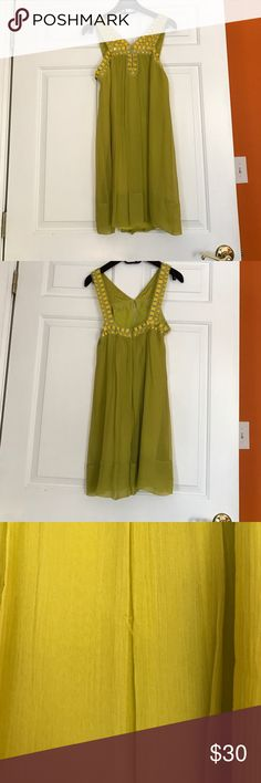 BCBG Citron Color Dress BCBG Citron Color Dress has been worn once but in great condition has a few snags but nothing notice able I have pictured the biggest one in photos BCBG Dresses Mini