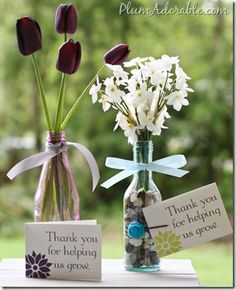 Thanks for Helping Us Grow: Printable Card & How to Paint Recycled Bottles/Jars with a Subtle Affect