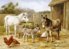 Edgar Hunt's oil painting Donkeys Pony And Chickens
