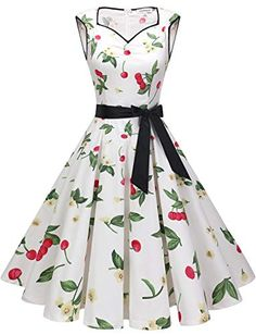 Cocktail Dresses for Women Vintage 1950s Retro Rockabilly Prom Wedding Dress White Small Cherry S Cute Dresses For Party, Pretty Dresses, Party Dress, Dress Prom, Prom Gowns, Dress Wedding, Homecoming Dresses, Simple Cocktail Dress, High Low Cocktail Dress