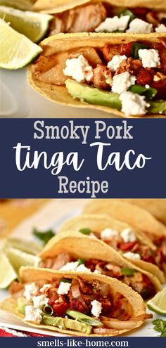 The slow cooker does all the work to make these unforgettable Smoky Pork Tinga Tacos! They are seriously amazing! Grilling Recipes, Pork Recipes, Slow Cooker Recipes, Crockpot Recipes, Weeknight Dinners, Easy Dinners, Easy Dinner Recipes, Bacon Dishes, Pork Dishes