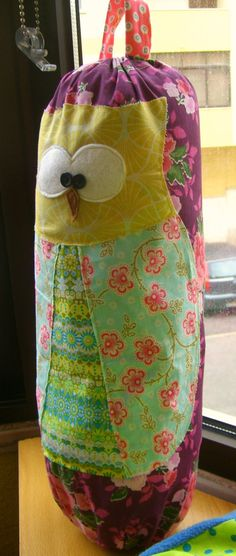 owl plastic grocery bag holder or plastic bag by SandyOwn on Etsy, $15.00