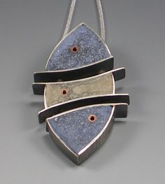 """Click on image to view, """"Trices"""" pendant by Renee Davis    Sterling silver, copper tubing, industrial concrete with embedded rebar  IMGP2645Web.jpg (800×894)"""