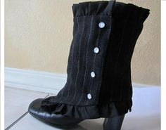 Black Pin-Striped Spats Womens Ruffled Gaitors by RhiBeeBoutique