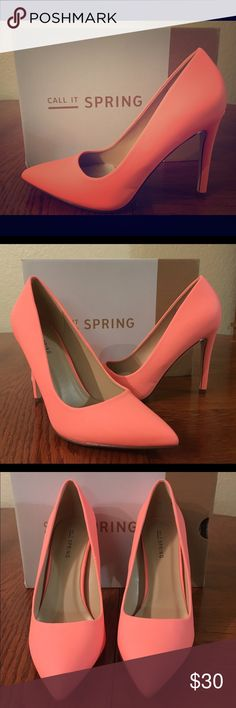 One Day Sale ⬇️$18 Beautiful peach neon colored heels brand new and never worn. Shoe is straight back, pointy toe and had a walkable heel height. Ready for a new home.  - Synthetic pump. - Synthetic sole. - Straight heel. - Pointy toe. - Heel height: 4.25 in. Call It Spring Shoes Heels