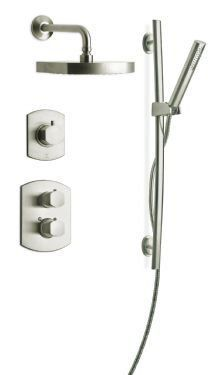 """View the LaToscana SHOWER3NO Novello Shower System with Thermostatic Mixing Valve, Wall Mounted Diverter, Rainshower Shower Head and Personal Hand Shower with 30"""" Slide Bar at FaucetDirect.com."""