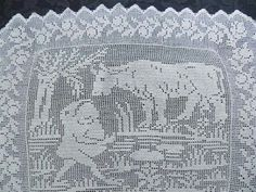 Antique Figural Filet Crochet Lace Panel Fable Frog Ox