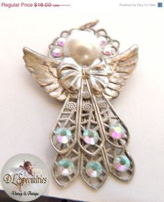 50 PERCENT SALE  Vintage Jewelry Angel AB by DLSpecialties on Etsy, $9.00
