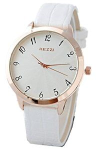 Kezzi Mens Watches K999 Quartz Analog Leather Wrist Watch Fashion Classic Casual Waterproof White