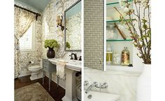 I love the taupe-tone wallpaper and the silver-blue ceiling...(Susan Gilmore Photography)