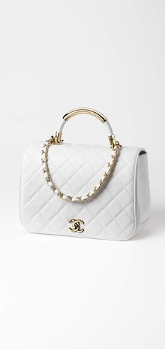 Flap bag with top handle, lambskin & gold-tone metal-white - CHANEL