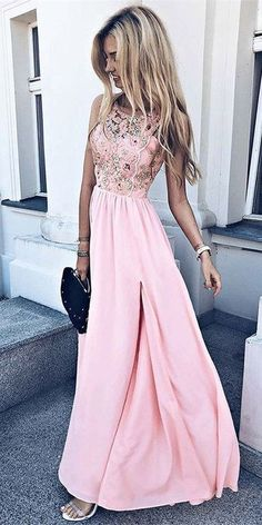 A-Line Round Neck Pink Chiffon Long Homecoming Prom Dress with Appliques   4b15d7630abc