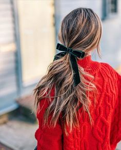 Jess Ann Kirby wearing a holiday look featuring a J.Crew velvet bow and chunky red knit sweater | via @jessannkirby