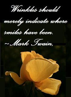 Wrinkles should merely indicate where smiles have been.  ~Mark Twain,