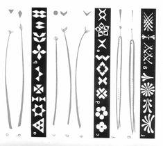 Mustervorlagen für Sorbische Ostereier, gefertigt mit Stecknadelkuppen oder zugeschnittenen Federn