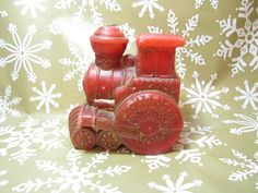 Christmas Train Candle Red Locomotive Steam by LuckyPennyTrading