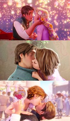 """Rapunzel's almost kiss, celebration kiss and """"you just stole my crown"""" kiss."""