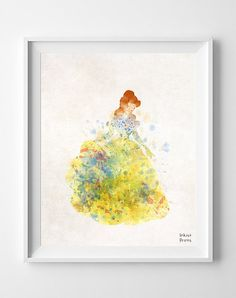 Beauty and Beast, Print, Disney, Belle, Watercolor, Poster, Illustration, Valentines Day, Giclee Wall, Kid, Nursery, Home Decor [NO 353]