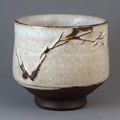 "Yunomi ""Early Spring"", Tea Bowl by Paul Fryman. Black clay. Red slip. White crackle glaze."