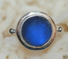 Cobalt Sea beach glass ring and antique 925 by seaglassboutique, $45.00