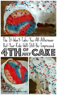 The-It-Won't-Take-You-All-Afternoon-But-Your-Kids-Will-Still-Be-Impressed 4th of July Cake. You can make this during naptime (or have your kids help you) to celebrate Independence Day. Easy, but impressive!