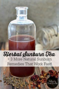 Herbal Sunburn Tea | This Herbal Sunburn Tea works quickly to relieve the pain and heat of a sunburn. Although my son had a really bad sunburn, he never peeled or itched! His skin healed completely, and he never complained of pain or stiffness in his skin! And there are 3 more natural sunburn remedies that work fast! | http://TodayInDietzville.com