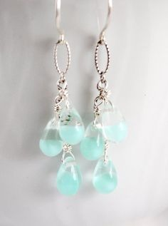 Seafoam glass earrings silver silver glass drop.  These are so beautiful.  I love the clear, blue color.