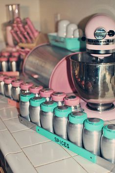 vintage rare Kromex long spice racks in pink and turquoise. swooooon