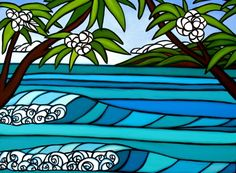 Year 6 have been looking at the work of Hawaiian surf artist Heather Brown. Her colourful artworks have a cartoon like quality due to the black outlines and . Heather Brown Art, Let's Make Art, Hawaiian Art, Surfboard Art, Colorful Artwork, Surf Art, Photo Wall Collage, Ocean Art, Art Deco Design