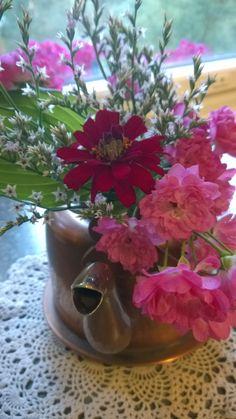 Tataariviuhko, tsinnia ja ruusu, jonka ostin juurakkona marketista keväällä. Nimeä ruudulle ei ollut.