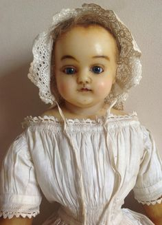 LOVELY early antique English poured wax doll most probably Montanari orig gown