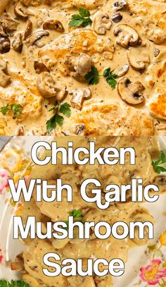 This creamy bacon chicken recipe is a decadent and delicious dinner that's easy enough for a weeknight and tasty enough for entertaining guests. Tender, pan-fried chicken breasts are coated in a creamy bacon sauce. It's ready in about 30 minutes! Garlic Mushroom Sauce, Chicken Mushroom Recipes, Garlic Mushrooms, Baked Chicken Recipes, Stuffed Mushrooms, Oven Chicken, Boneless Chicken, Garlic Sauce, Keto Chicken