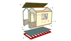 This step by step diy woodworking project is about simple playhouse plans. If you want to learn more about building a basic playhouse with an appealing design, we recommend you to take a look over the instructions described in the article. Simple Playhouse, Kids Playhouse Plans, Outside Playhouse, Playhouse Kits, Backyard Playhouse, Build A Playhouse, Wooden Playhouse, Outdoor Playhouses, Pallet Playhouse
