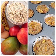 Desert mommy making healthy Baby finger food: fruit oatmeal bake.  Bananas, mango, nectarines, eggs, milk, and oatmeal.