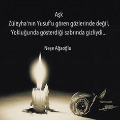 Aşk, Züleyha'nın Yusuf'u gören gözlerinde değil, Yokluğunda gösterdiği sabrında gizliydi. - Neşe Ağaoğlu (Kaynak: Instagram - neseagaogluu) #sözler #anlamlısözler #güzelsözler #manalısözler #özlüsözler #alıntı #alıntılar #alıntıdır #alıntısözler #şiir #edebiyat