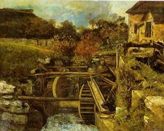 'La fábrica de papel d'Ornans' (The Ornans Paper Mill) Gustave Courbet Statues, French Paintings, Oil Paintings, Gustave Courbet, Paper Mill, Art Database, Realism Art, Japanese Prints, Impressionist