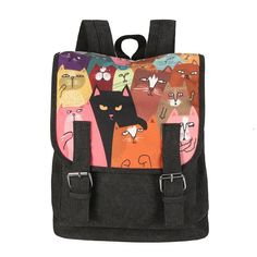 MSMO Newest High Quality Canvas Printing Backpack Women Cute School Backpacks Double Belt Cartoon Cat Printing Bag Bagpack