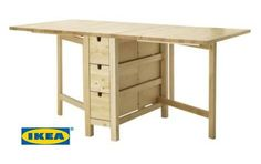 We believe a gate-leg table serves as a tiny house multi-tasker. This Norden model works nicely for dining, kitchen, desk, media, display or other uses.