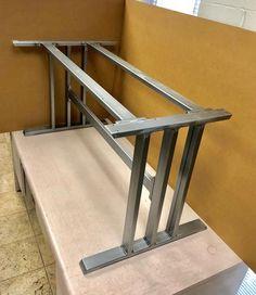 Design Dining Table Base Heavy Duty Sturdy Steel 2 Legs With Upper Braces 1 Lower Brace