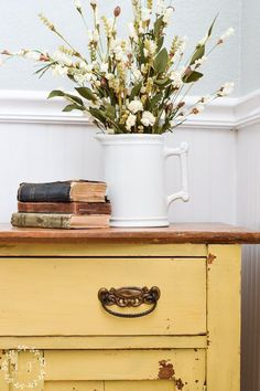 Oak Washstand Makeover With Milk Paint Mustard Seed Yellow - Modern Furniture: Affordable, Unique, Edgy Yellow Painted Furniture, Chalk Paint Furniture, Diy Furniture Projects, Repurposed Furniture, Rustic Furniture, Furniture Makeover, Cool Furniture, Modern Furniture, Kitchen Furniture
