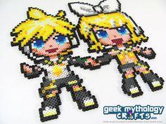 Vocaloid Rin & Len Kagemine Twins Perler Pixel Art Bead Sprite via Etsy