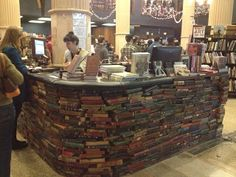 """The Last Bookstore"" in LA with a counter made from books."